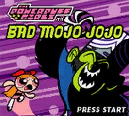 Title screen of Powerpuff Girls: Bad Mojo Jojo on the Nintendo Game Boy Color.