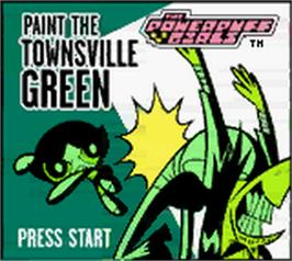 Title screen of Powerpuff Girls: Paint the Townsville Green on the Nintendo Game Boy Color.