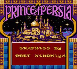 Title screen of Prince of Persia on the Nintendo Game Boy Color.