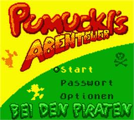 Title screen of Pumuckls Abenteuer bei den Piraten on the Nintendo Game Boy Color.