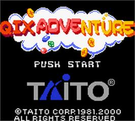 Title screen of Qix Adventure on the Nintendo Game Boy Color.