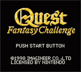 Title screen of Quest - Fantasy Challenge on the Nintendo Game Boy Color.