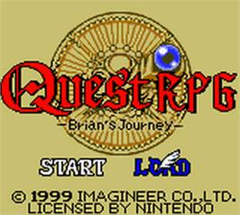 Title screen of Quest RPG - Brian's Journey on the Nintendo Game Boy Color.
