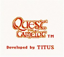 Title screen of Quest for Camelot on the Nintendo Game Boy Color.