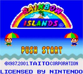 Title screen of Rainbow Islands on the Nintendo Game Boy Color.