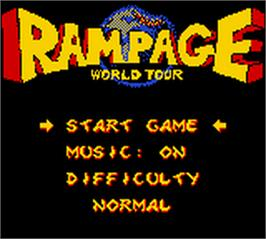 Title screen of Rampage: World Tour on the Nintendo Game Boy Color.