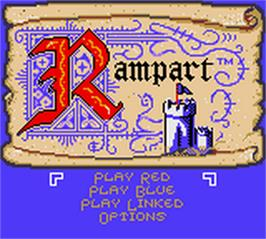 Title screen of Rampart on the Nintendo Game Boy Color.