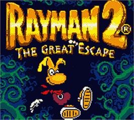 Title screen of Rayman 2: The Great Escape on the Nintendo Game Boy Color.