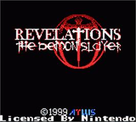 Title screen of Revelations: The Demon Slayer on the Nintendo Game Boy Color.