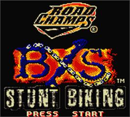Title screen of Road Champs: BXS Stunt Biking on the Nintendo Game Boy Color.