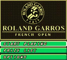 Title screen of Roland Garros French Open 2000 on the Nintendo Game Boy Color.
