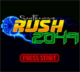 Title screen of San Francisco Rush 2049 on the Nintendo Game Boy Color.