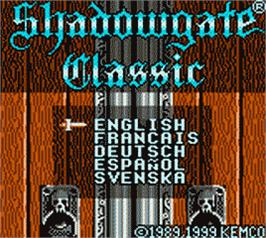 Title screen of Shadowgate Classic on the Nintendo Game Boy Color.