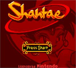 Title screen of Shantae on the Nintendo Game Boy Color.