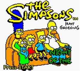 Title screen of Simpsons: Night of the Living Treehouse of Horror on the Nintendo Game Boy Color.
