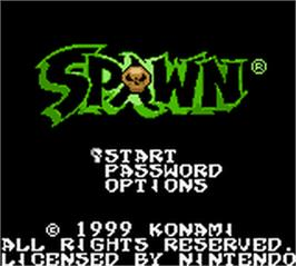 Title screen of Spawn on the Nintendo Game Boy Color.