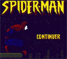 Title screen of Spider-Man on the Nintendo Game Boy Color.