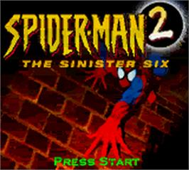 Title screen of Spider-Man 2: The Sinister Six on the Nintendo Game Boy Color.