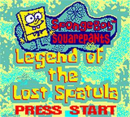 Title screen of SpongeBob SquarePants: Legend of the Lost Spatula on the Nintendo Game Boy Color.