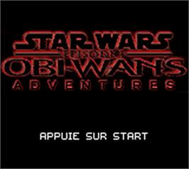 Title screen of Star Wars: Episode I: Obi-Wan's Adventures on the Nintendo Game Boy Color.