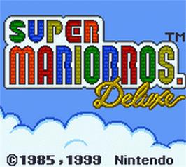 Title screen of Super Mario Bros. Deluxe on the Nintendo Game Boy Color.