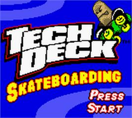 Title screen of Tech Deck Skateboarding on the Nintendo Game Boy Color.