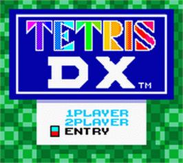 Title screen of Tetris DX on the Nintendo Game Boy Color.