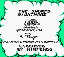 Title screen of The Smurfs Nightmare on the Nintendo Game Boy Color.