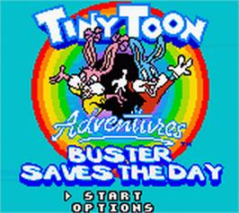 Title screen of Tiny Toon Adventures: Buster Saves the Day on the Nintendo Game Boy Color.