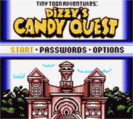 Title screen of Tiny Toon Adventures: Dizzy's Candy Quest on the Nintendo Game Boy Color.