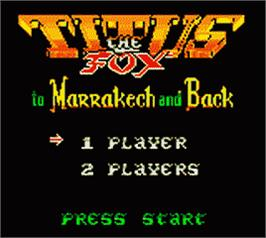 Title screen of Titus the Fox: To Marrakech and Back on the Nintendo Game Boy Color.