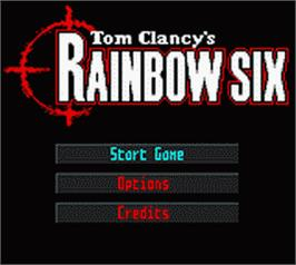 Title screen of Tom Clancy's Rainbow Six on the Nintendo Game Boy Color.