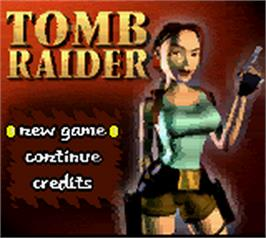 Title screen of Tomb Raider on the Nintendo Game Boy Color.