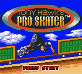 Title screen of Tony Hawk's Pro Skater on the Nintendo Game Boy Color.