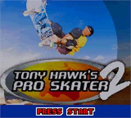 Title screen of Tony Hawk's Pro Skater 2 on the Nintendo Game Boy Color.