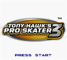 Title screen of Tony Hawk's Pro Skater 3 on the Nintendo Game Boy Color.