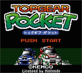 Title screen of Top Gear Pocket on the Nintendo Game Boy Color.