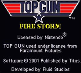 Title screen of Top Gun: Firestorm on the Nintendo Game Boy Color.