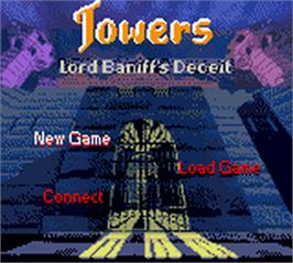Title screen of Towers: Lord Baniff's Deceit on the Nintendo Game Boy Color.