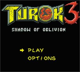 Title screen of Turok 3: Shadow of Oblivion on the Nintendo Game Boy Color.