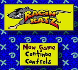 Title screen of Tyco Racin' Ratz on the Nintendo Game Boy Color.