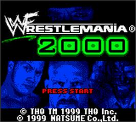 Title screen of WWF Wrestlemania 2000 on the Nintendo Game Boy Color.
