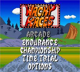 Title screen of Wacky Races on the Nintendo Game Boy Color.
