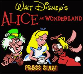 Title screen of Walt Disney's Alice in Wonderland on the Nintendo Game Boy Color.
