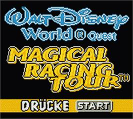 Title screen of Walt Disney World Quest: Magical Racing Tour on the Nintendo Game Boy Color.