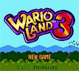 Title screen of Wario Land 3 on the Nintendo Game Boy Color.
