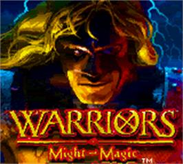 Title screen of Warriors of Might and Magic on the Nintendo Game Boy Color.