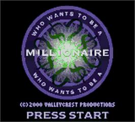 Title screen of Who Wants To Be A Millionaire? on the Nintendo Game Boy Color.