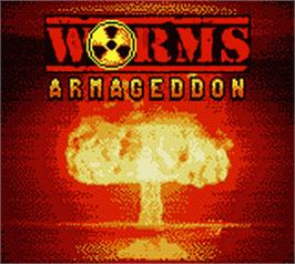 Title screen of Worms Armageddon on the Nintendo Game Boy Color.