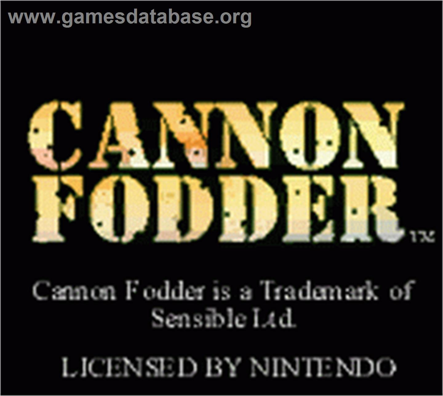Cannon Fodder - Nintendo Game Boy Color - Artwork - Title Screen